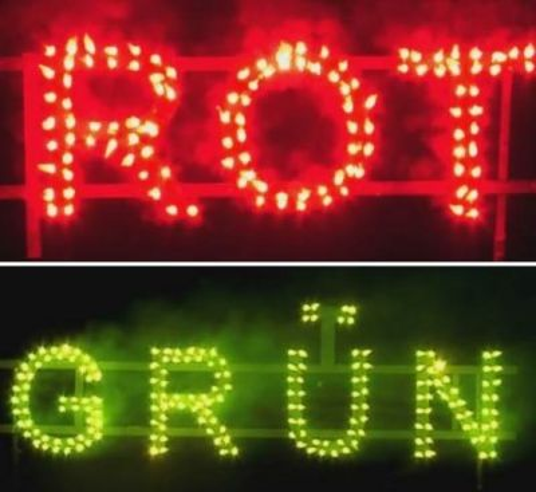 Figurenlichter ROT zu GRÜN T1 NC Raucharm 60 sec. 100 Stück