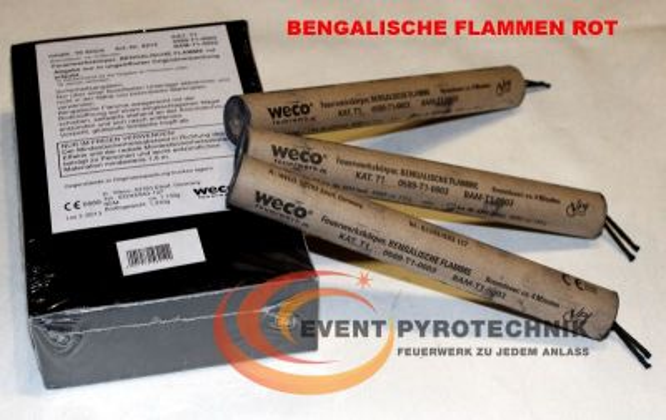 WECO Bengalische Zylinderflamme ROT - 4 min