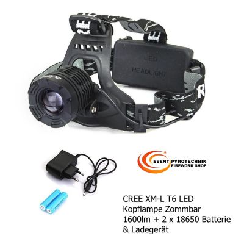 Kopflampe 1600 Lm CREE XM-L T6 LED + AKKUS & Ladegerät