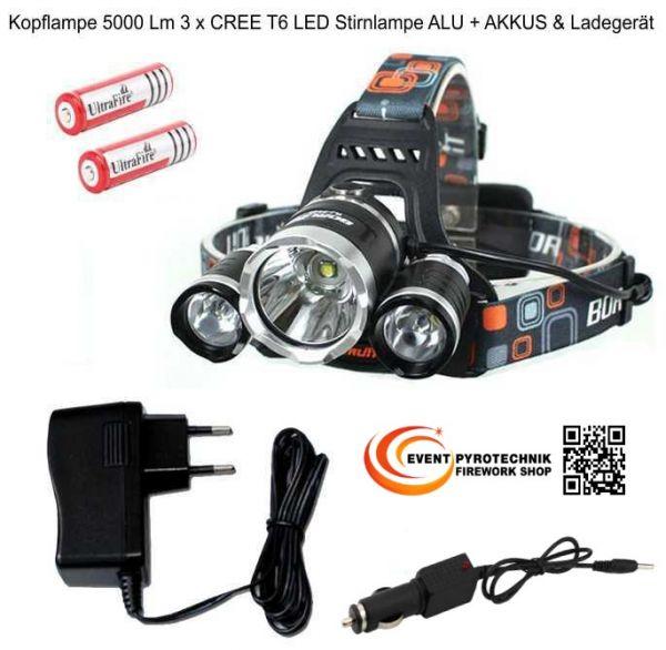 Kopflampe 5000 Lm 3 x CREE T6 LED Stirnlampe ALU + AKKUS & Ladegeräte