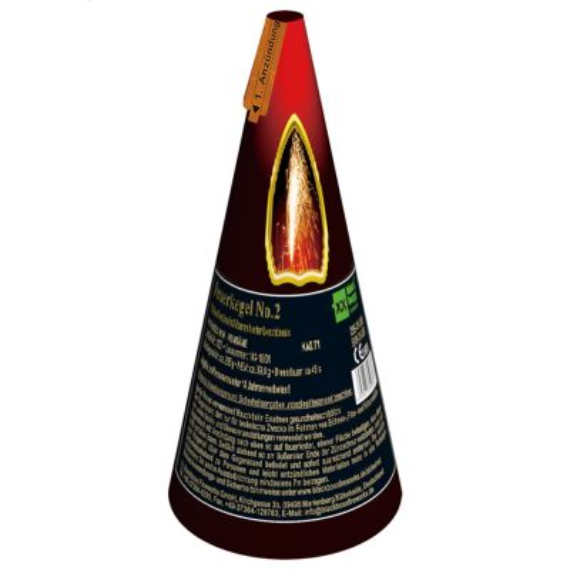 Silber Vulkan Feuerkegel mit roter Leuchtbasis T1 - 50sec.