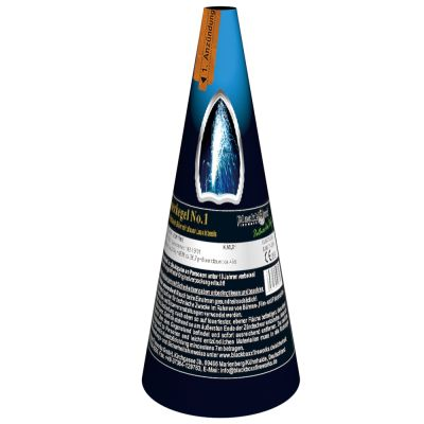 Silber Vulkan Feuerkegel mit blauer Leuchtbasis T1 - 50sec.