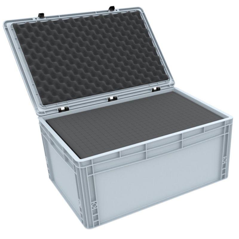 Eurobox 600 mm x 400 mm x 285 mm mit Rasterschaumstoffeinlagen und Scharnierdeckel
