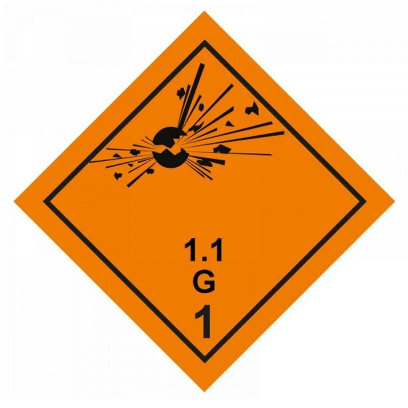 Gefahrgutaufkleber Explosionsgefährlich 1.1G