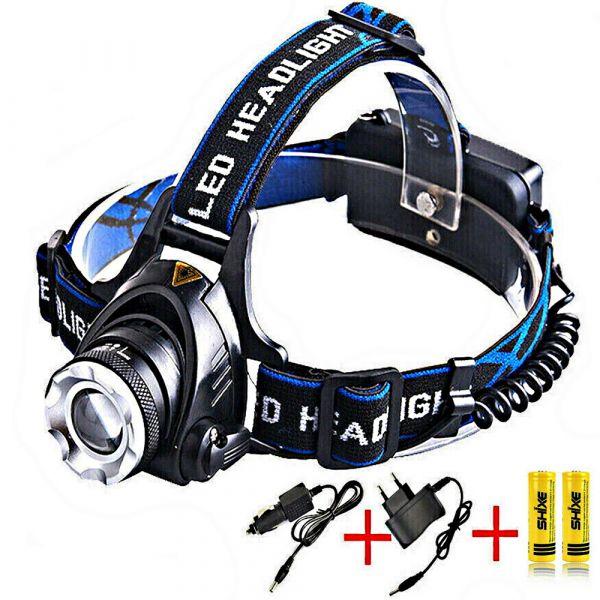 Kopflampe 2500 Lm CREE T6 LED Stirnlampe + AKKUS & Ladegeräte