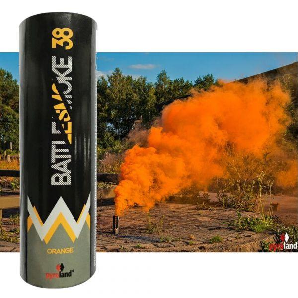 Pyroland Battlesmoke 38 Rauchflagge mit Reißzünder Orange 80 Sek. - T1