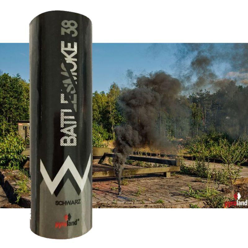 Pyroland Battlesmoke 38 Rauchflagge mit Reißzünder Schwarz 80 Sek. - T1