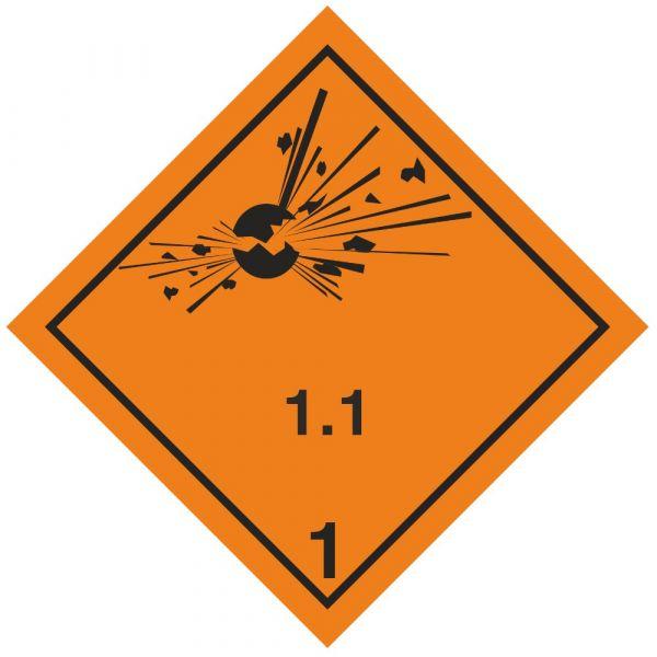 Gefahrgutaufkleber Explosionsgefährlich 1.1