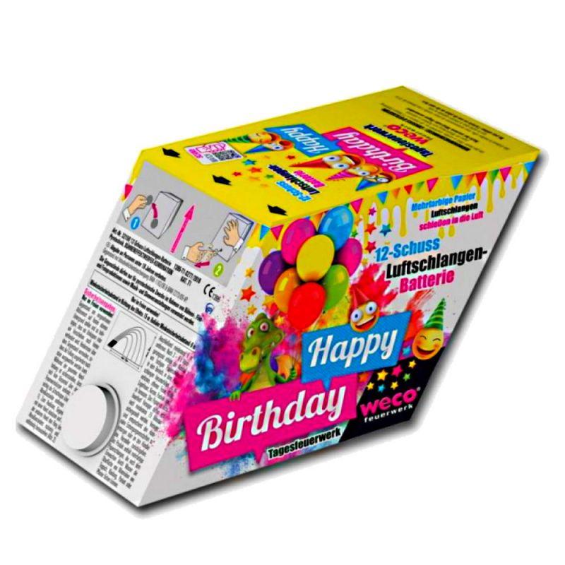 WECO Happy Birthday 12 Schuss Luftschlangen Batterie - T1