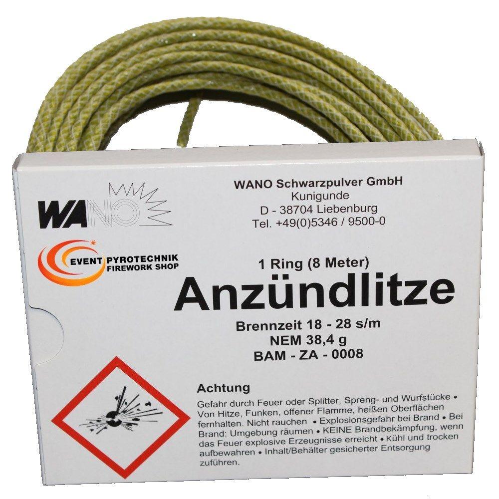 WANO Anzündlitze Zündschnur Gelb 8m - Brenndauer ca. 18-28 s/m ...