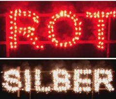Figurenlichter ROT zu SILBER T1 NC Raucharm 60 sec. 25 Stück