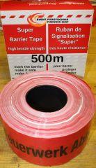 Absperrband  Flatterband 500 m x 80 mm Rot / Weiß Feuerwerk Abbrennplatz