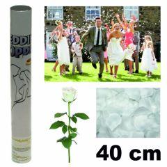 Konfetti Shooter Konfettikanone Hochzeit weiße Rosenblätter 40cm