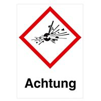 GHS Symbol Explodierende Bombe GHS01 Signalwort Achtung