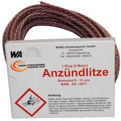 Anzündlitze Zündschnur WANO Rot 8m - Brenndauer ca. 8-12 s/m